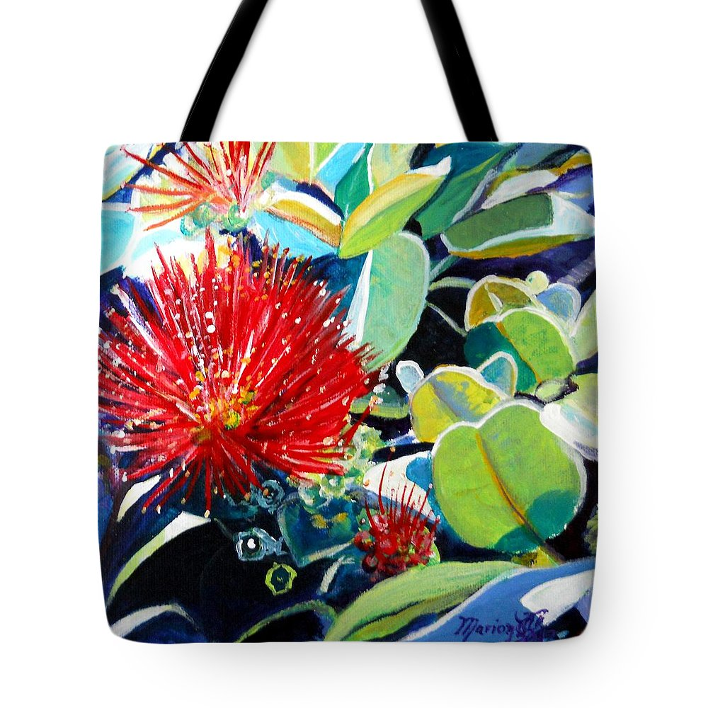 Hawaiian Flower Tote Bag featuring the painting Red Ohia Lehua Flower by Marionette Taboniar