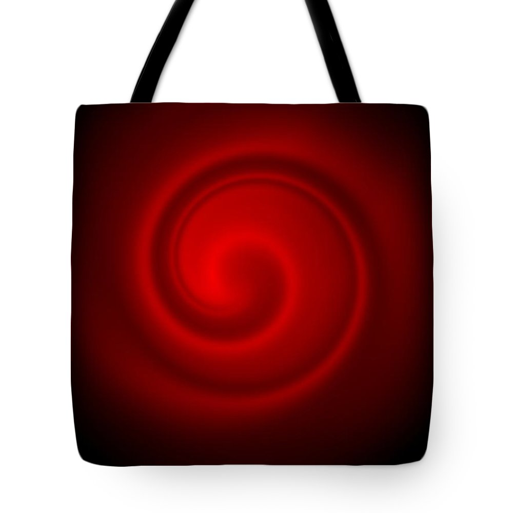 Swirl Tote Bag featuring the digital art Red On Black 4 by Ron Hedges