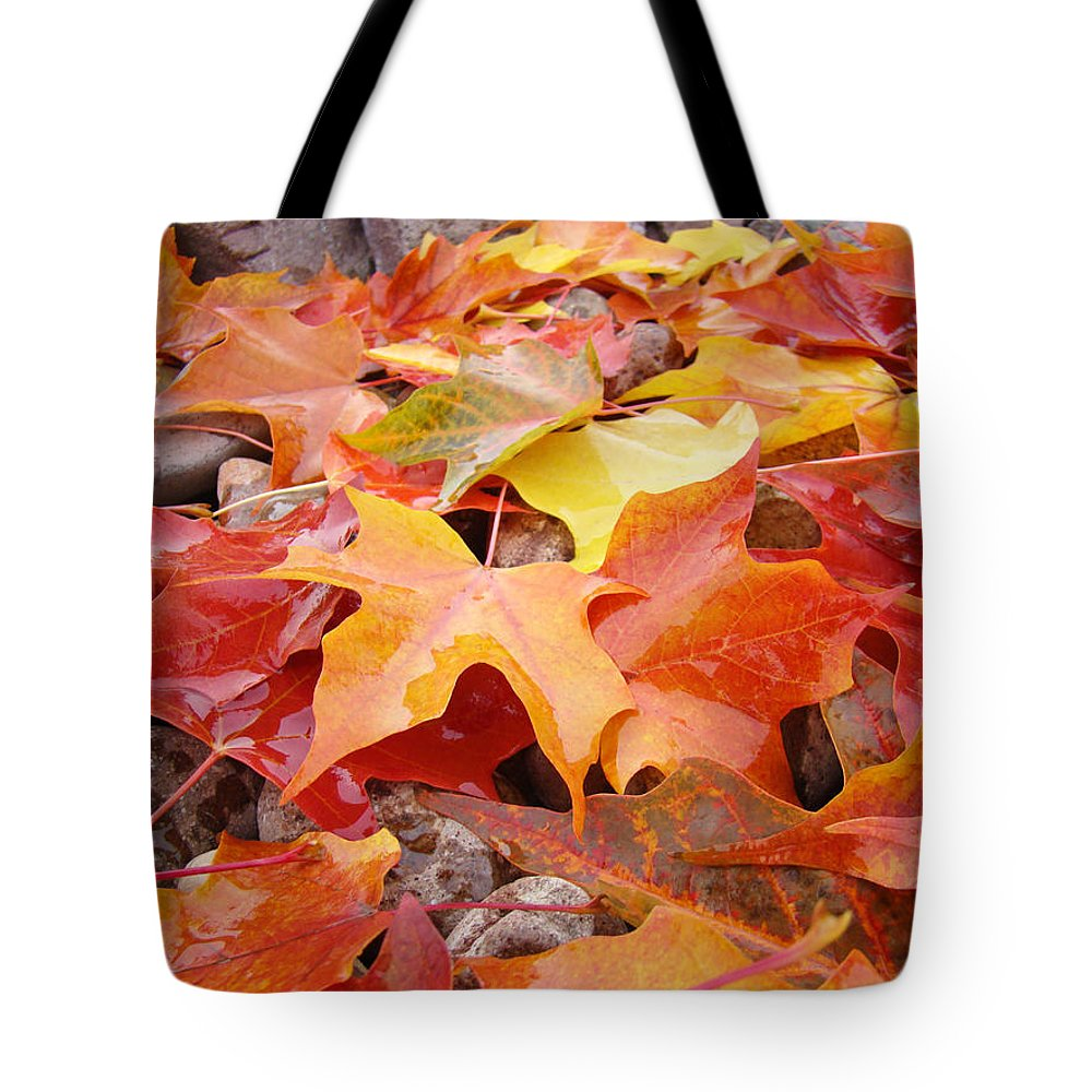 Red Tote Bag featuring the photograph Red Orange Autumn Leaves Art Prints by Baslee Troutman