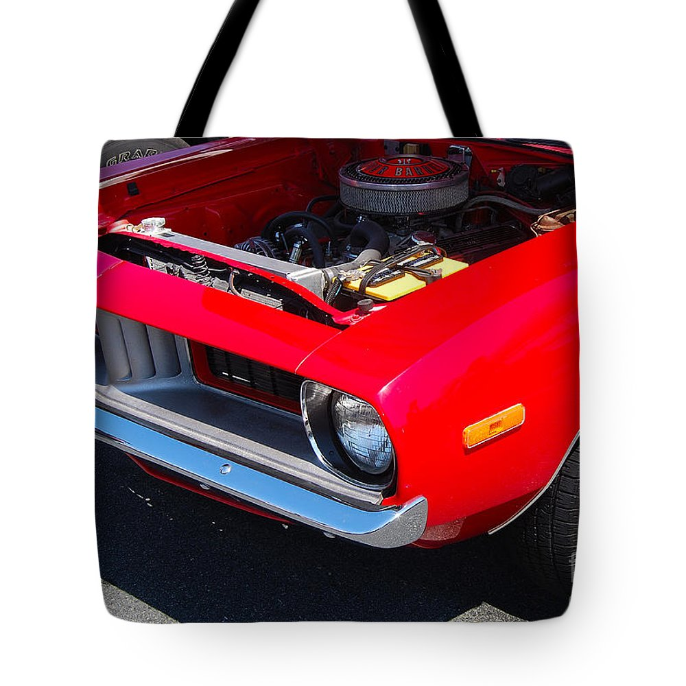American Muscle Car Tote Bag featuring the photograph Red Plymouth Barracuda by Mark Spearman