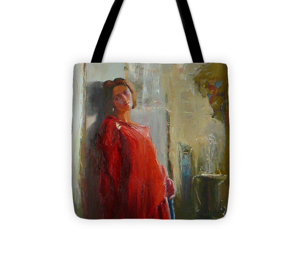 Red Poncho Tote Bag featuring the painting Red Poncho by Irena Jablonski