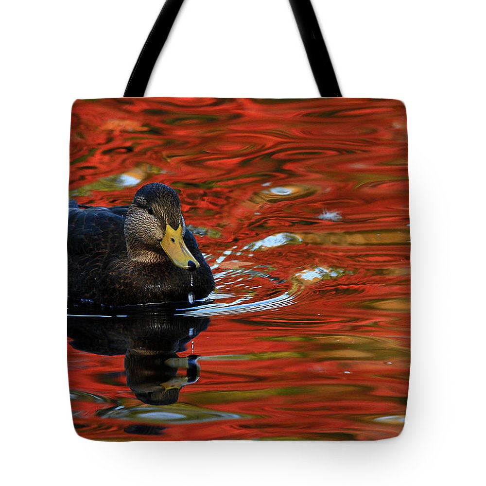 Autumn Tote Bag featuring the photograph Red Pond by Karol Livote