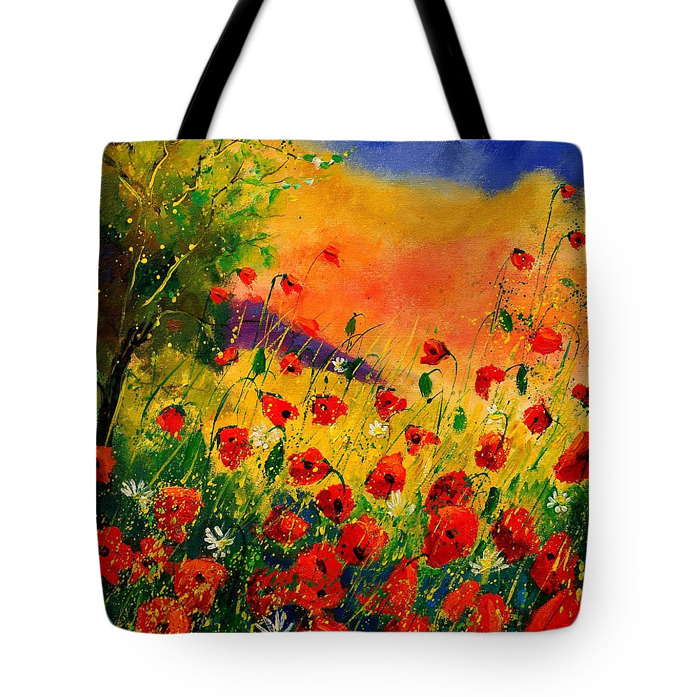 Poppies Tote Bag featuring the painting Red Poppies 45 by Pol Ledent