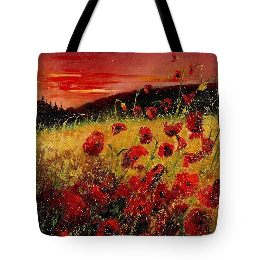 Poppies Tote Bag featuring the painting Red Poppies And Sunset by Pol Ledent