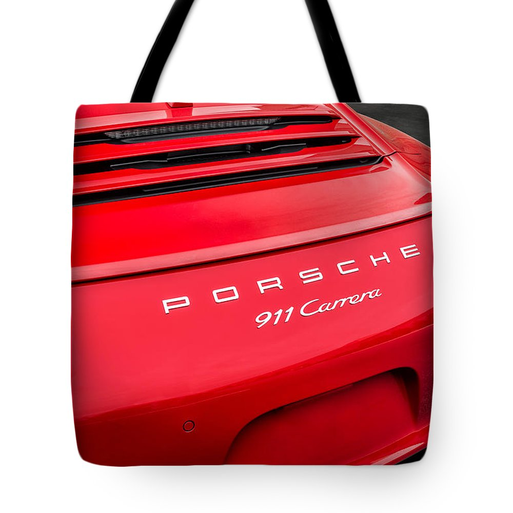 Porsche Tote Bag featuring the photograph Red Porsche 911 Detail E183 by Wendell Franks
