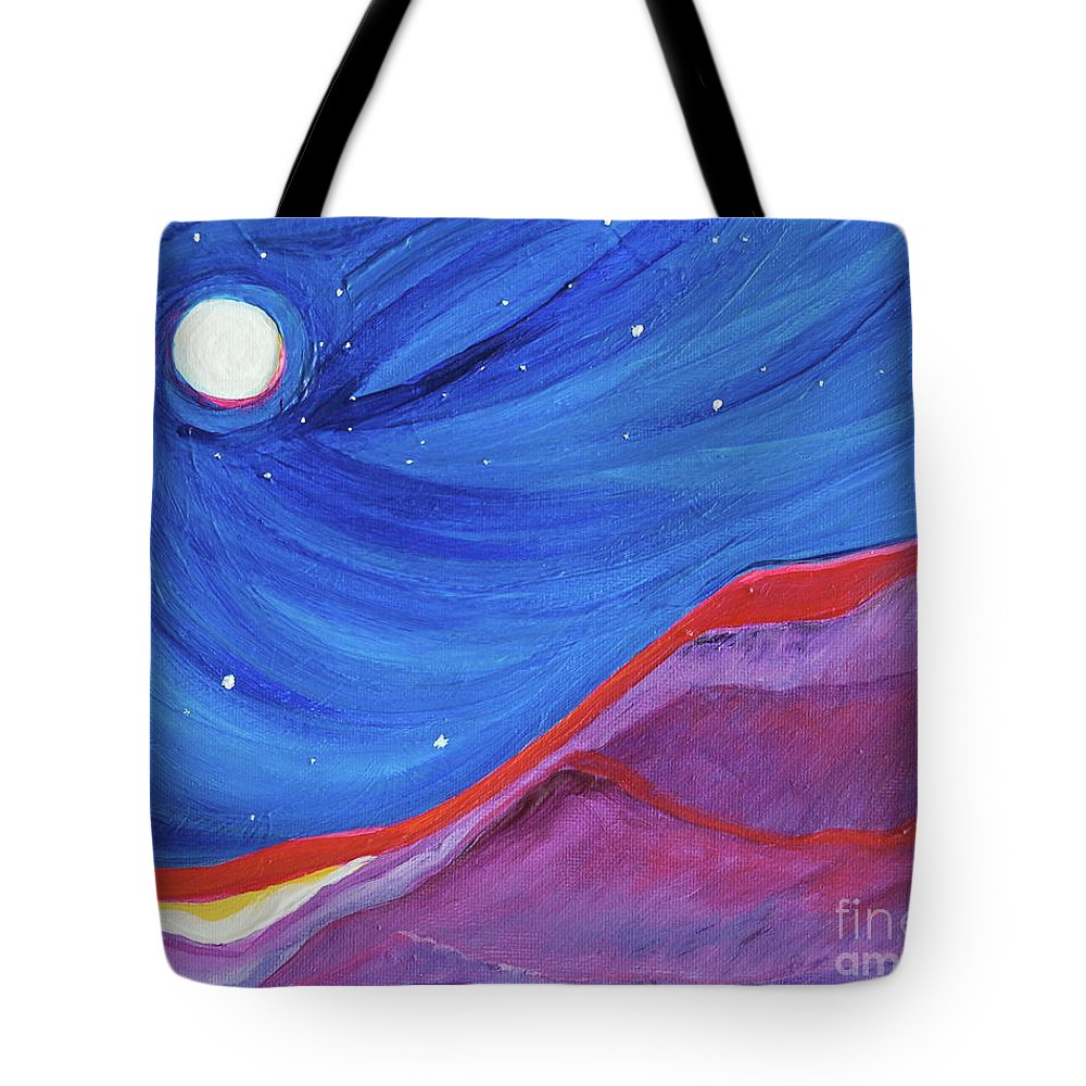 Landscape Tote Bag featuring the painting Red Ridge By Jrr by First Star Art