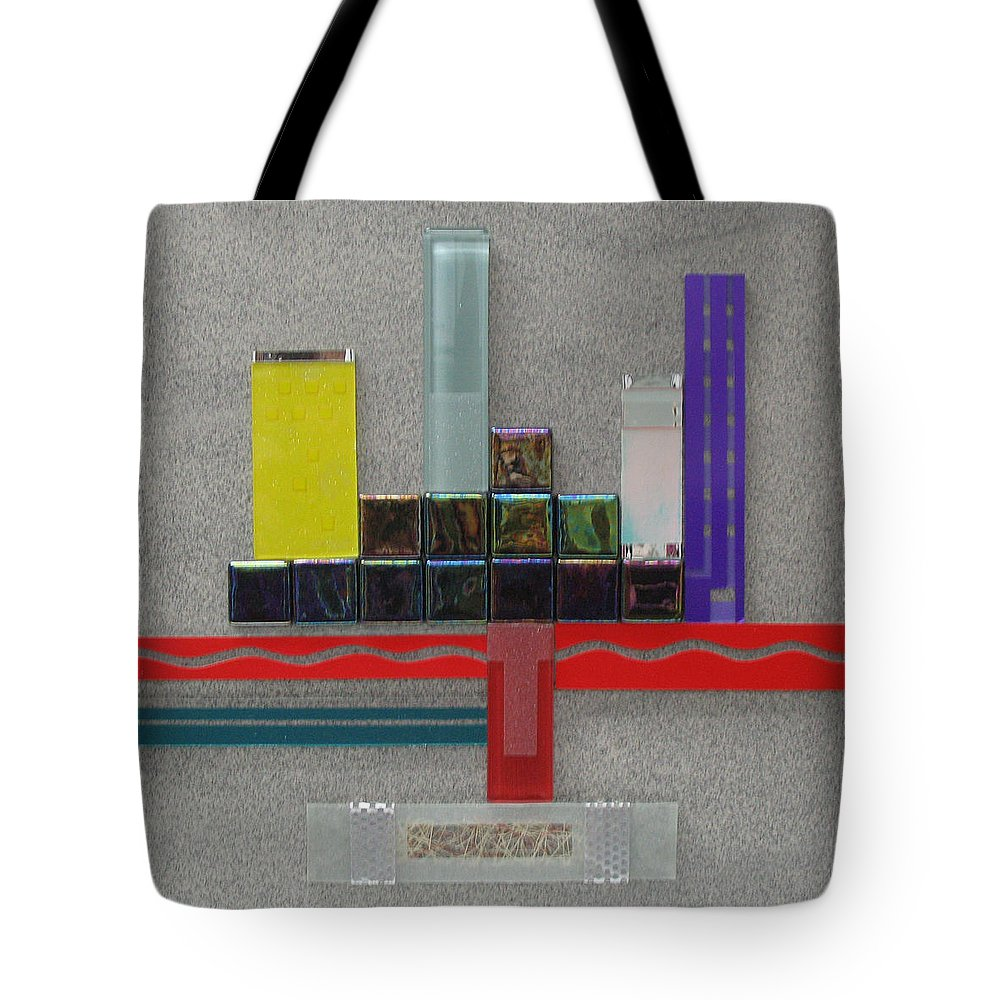 Assemblage Tote Bag featuring the relief Red River City by Elaine Booth-Kallweit