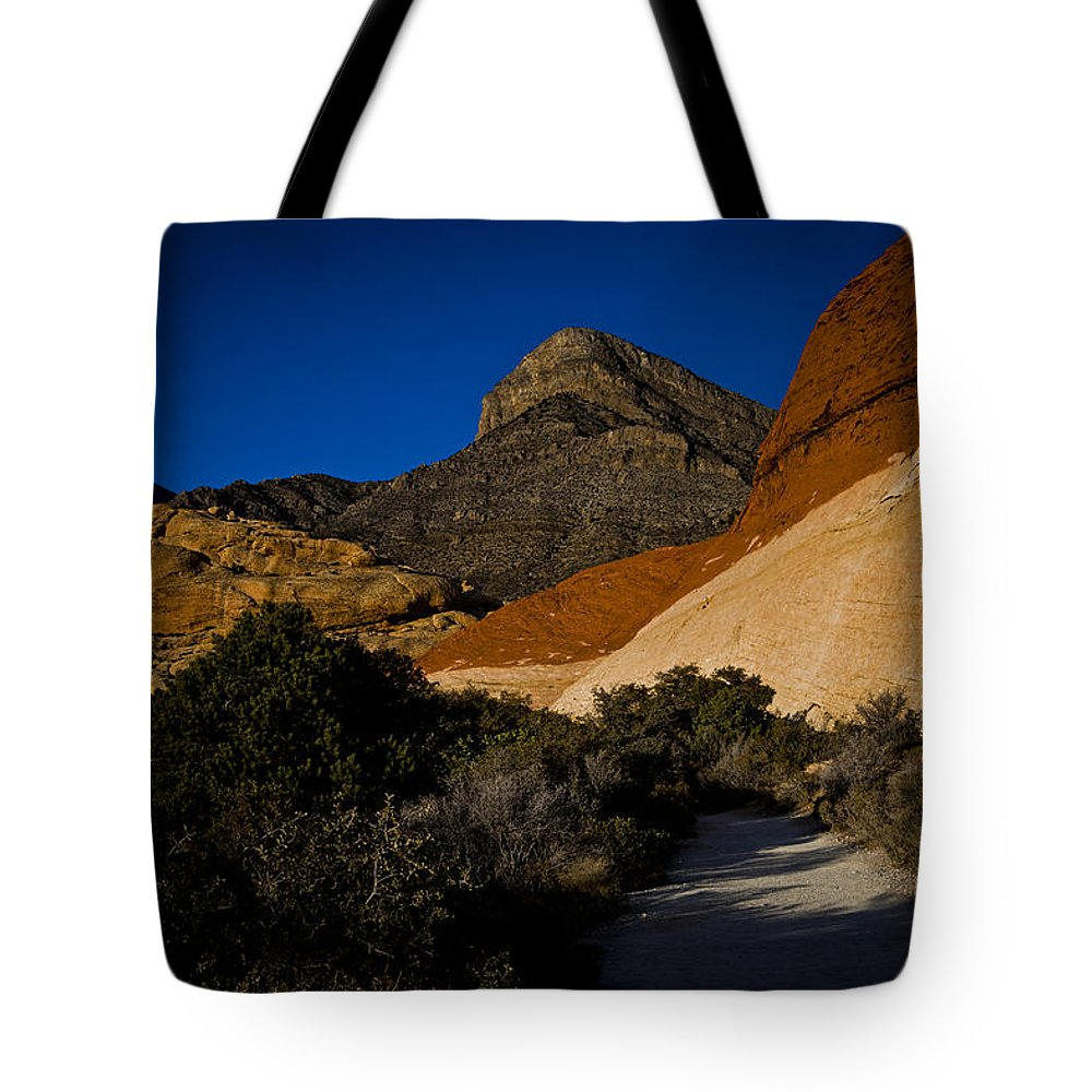 Evie Tote Bag featuring the photograph Red Rock Canyon At Dusk by Evie Carrier