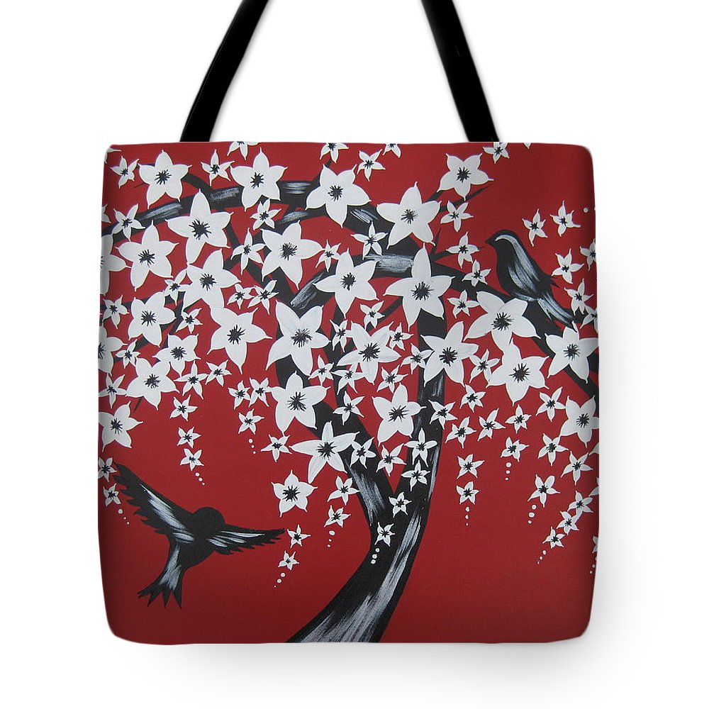 Romantic Tote Bag featuring the painting Red Romance by Cathy Jacobs