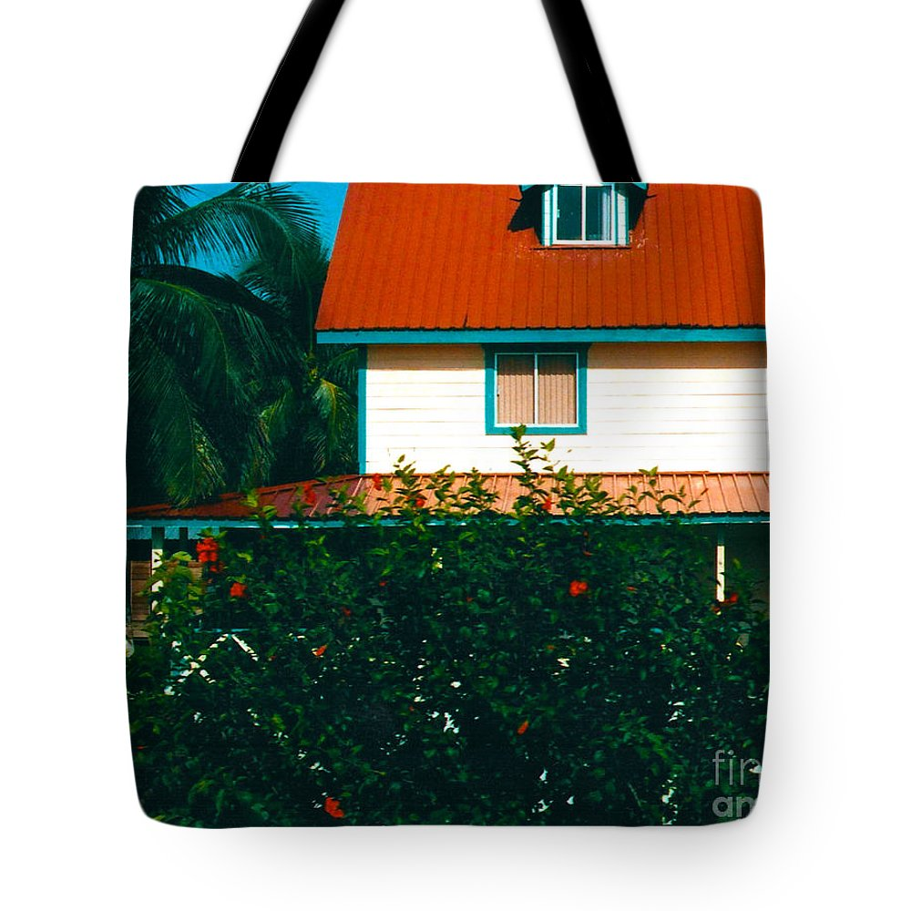 Red Roof Tote Bag featuring the photograph Red Roof Home by Anita Lewis