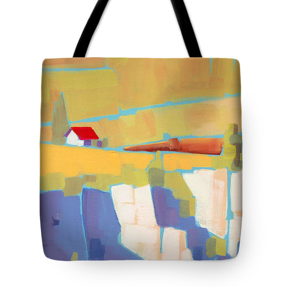Landscape Tote Bag featuring the painting Red Roof Landscape by Larry Hunter
