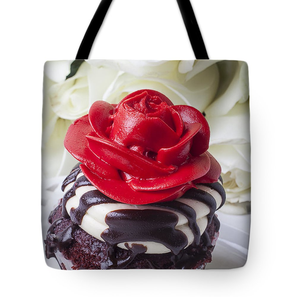 Red Rose Cupcake Tote Bag featuring the photograph Red Rose Cupcake by Garry Gay