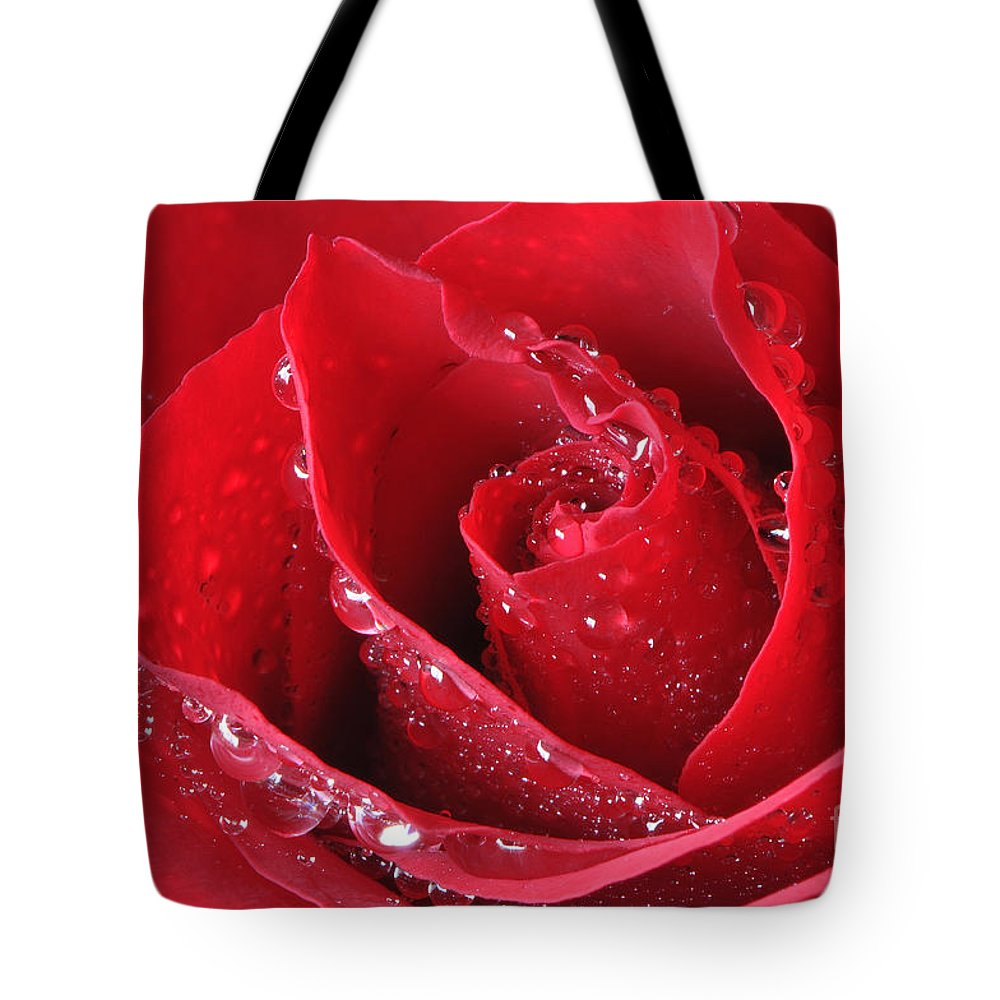 Red Rose Tote Bag featuring the photograph Red Rose Macro With Waterdrops by Sharon Talson