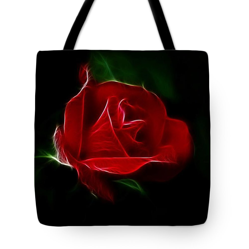 Rose Tote Bag featuring the photograph Red Rose by Sandy Keeton