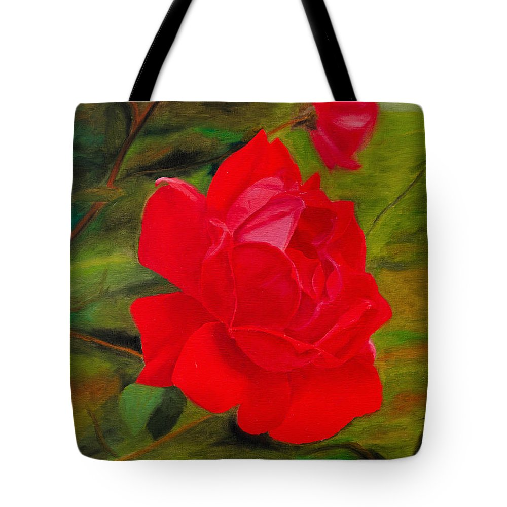 Red Rose Tote Bag featuring the painting Red Rose With Bud by Laurie Donophan-Dart