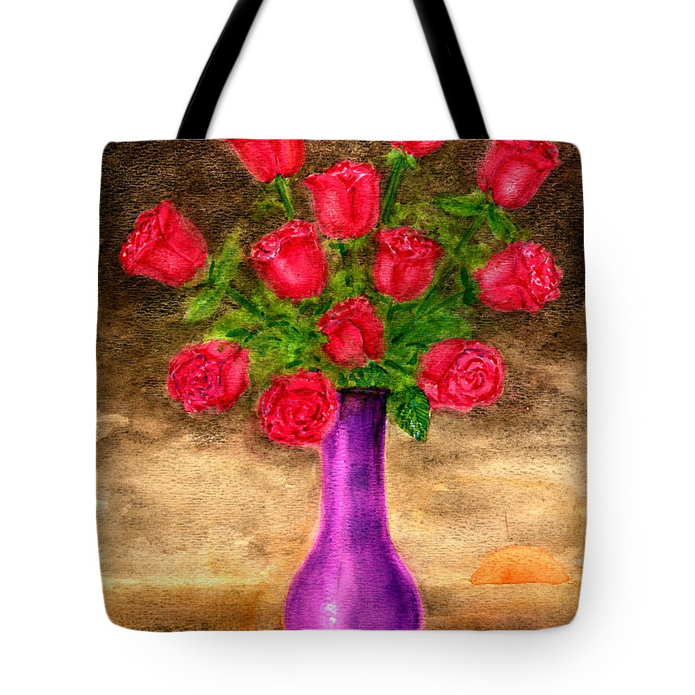 Http://fineartamerica.com/shop/framed+prints/frank+hunter?page=1 Tote Bag featuring the painting Red Roses In A Purple Vase by Frank Hunter