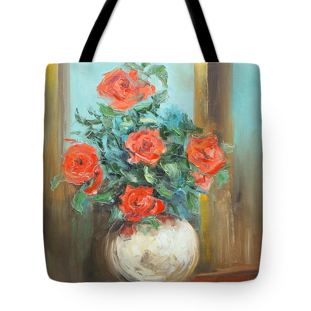 Rose Tote Bag featuring the painting Red Roses by Luke Karcz