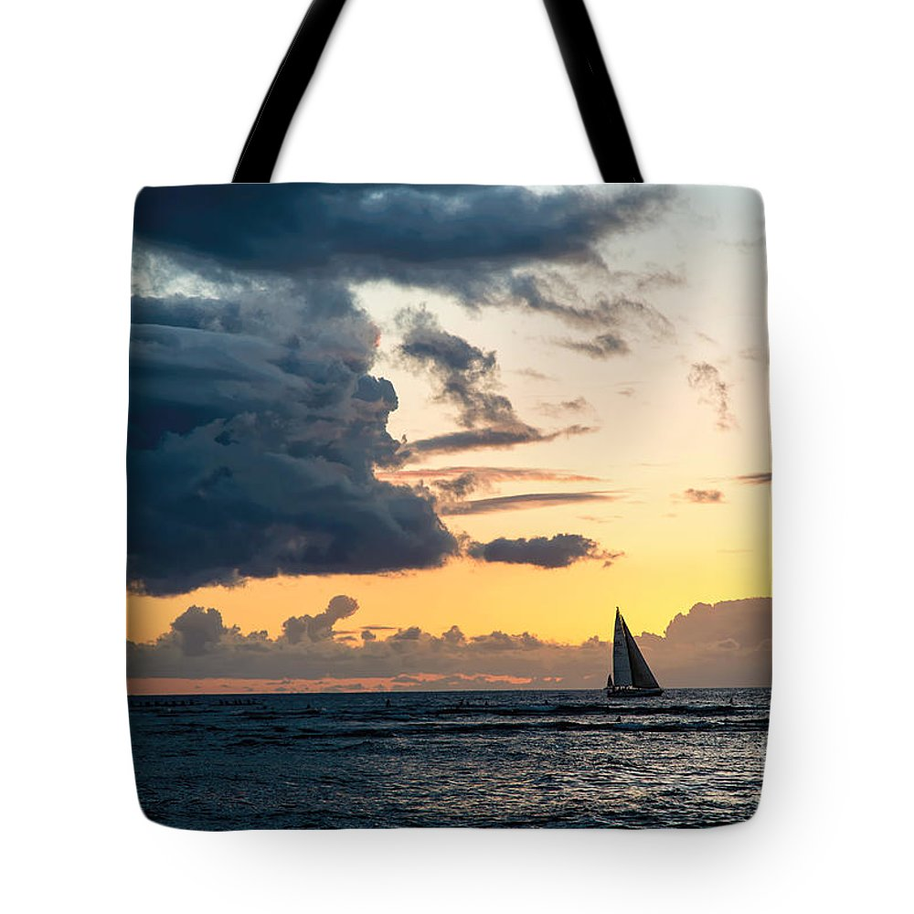 Pacific Ocean Tote Bag featuring the photograph Sails In The Sunset by Jon Burch Photography