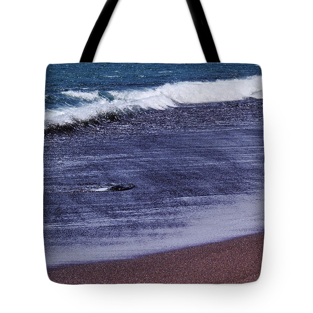 Red Sand Tote Bag featuring the photograph Red Sand Beach Abstract by Karol Kozlowski