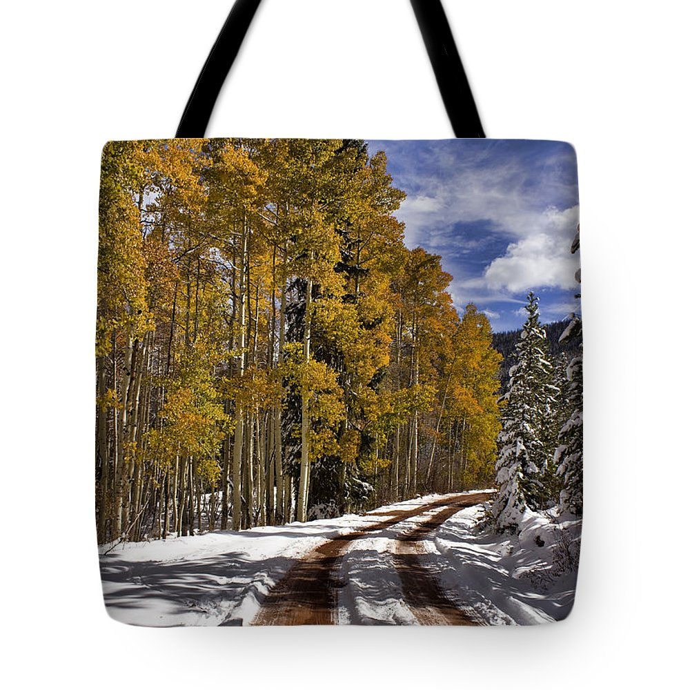 Road Tote Bag featuring the photograph Red Sandstone Road In October by Ellen Heaverlo