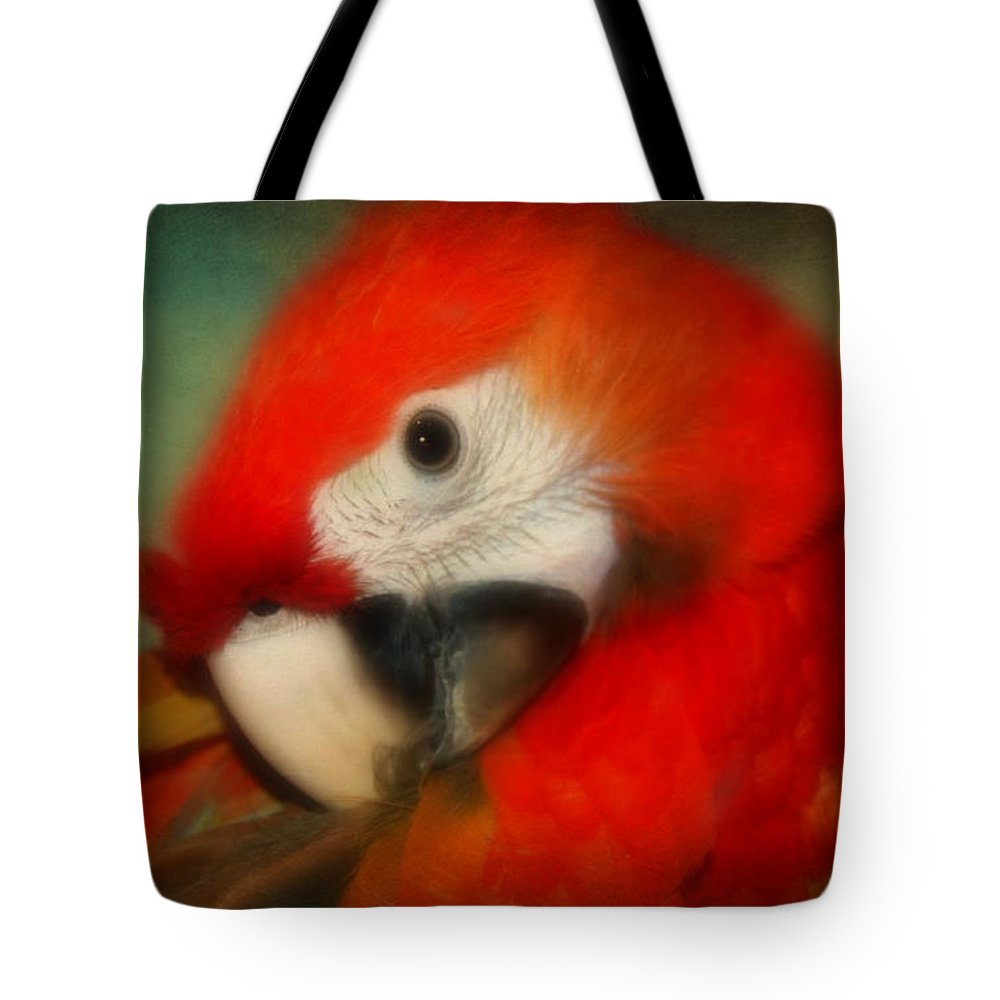 Close Up Tote Bag featuring the photograph Red Scarlet  Macaw Parrot Sammy by Peggy Franz