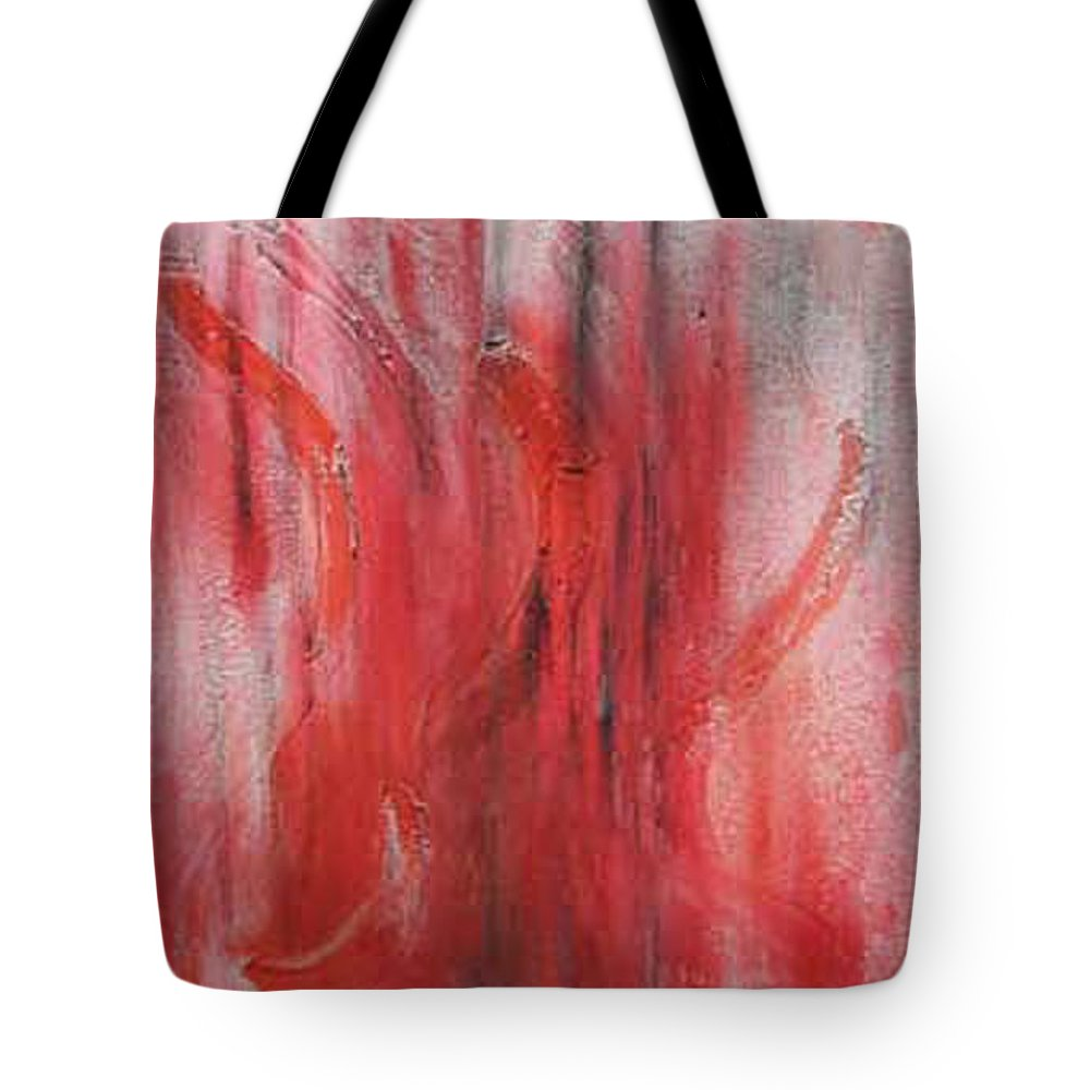Abstract Tote Bag featuring the painting Red Sea by Silvana Abel