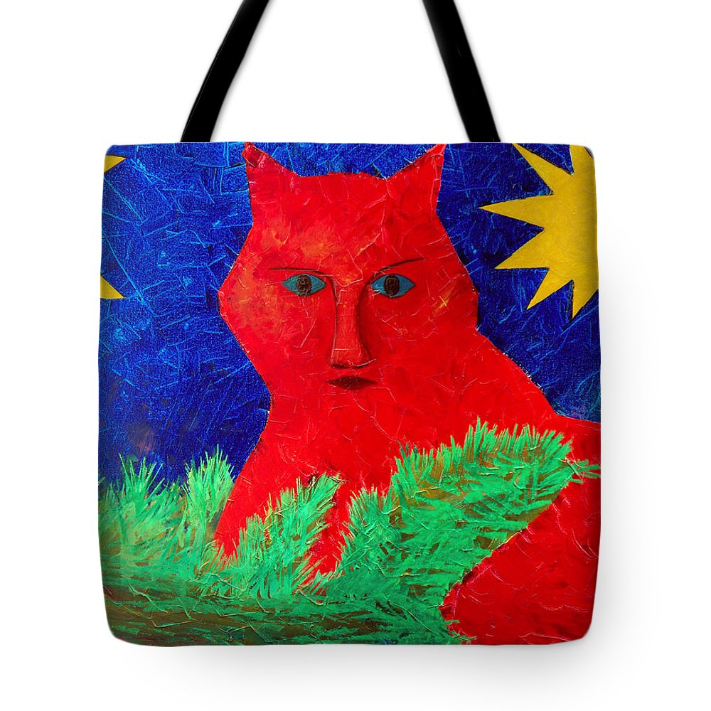 Fantasy Tote Bag featuring the painting Red by Sergey Bezhinets