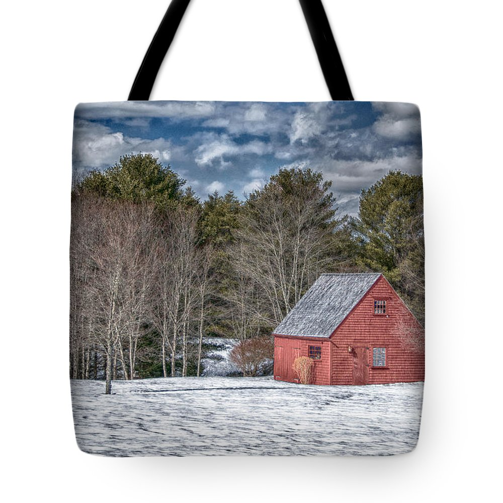 Buildings Tote Bag featuring the photograph Red Shed In Maine by Guy Whiteley