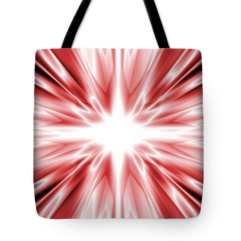 Background Tote Bag featuring the digital art Red Silk Star by Steve Ball