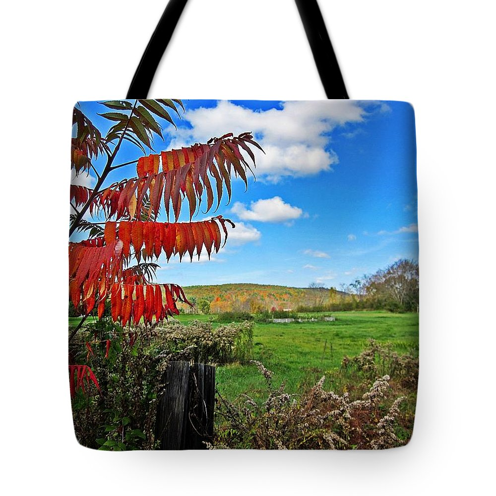 Field Tote Bag featuring the photograph Red Sumac Field by MTBobbins Photography