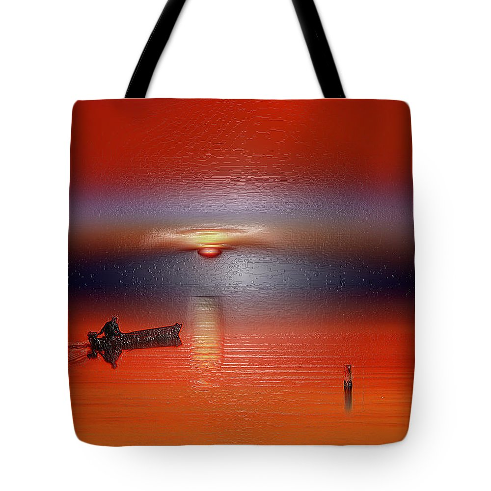 Landscape Tote Bag featuring the digital art Red Sun by Scott Mendell