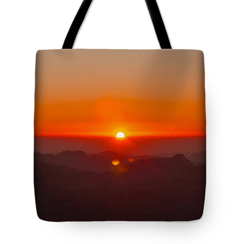 Sinai Tote Bag featuring the pyrography Red Sunrise In Sinai Montains by Julis Simo