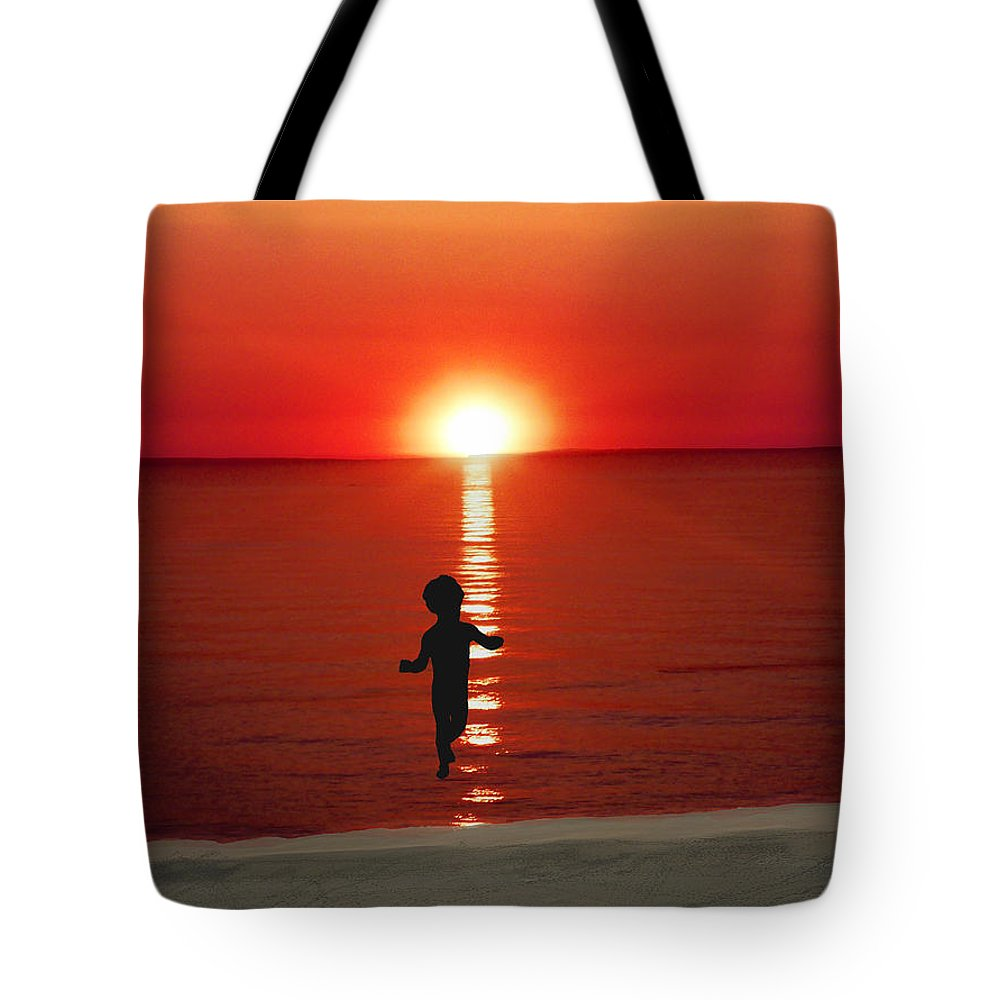Red Tote Bag featuring the digital art Red Sunrise by Tina Lynch
