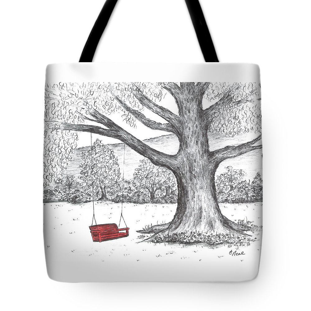 Red Swing Tote Bag featuring the drawing Red Swing by Carol Neal