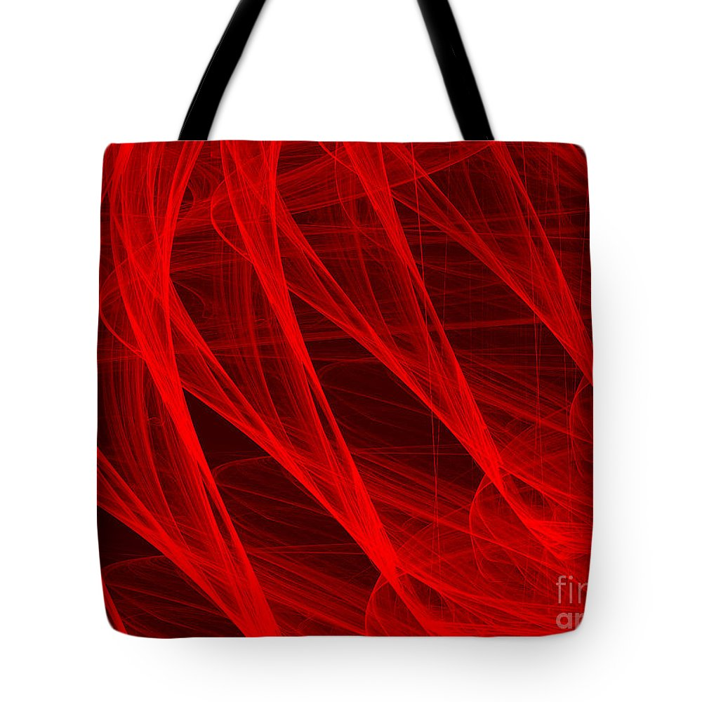 Digital Art Tote Bag featuring the digital art Red Threads by Alvardo Rockigres