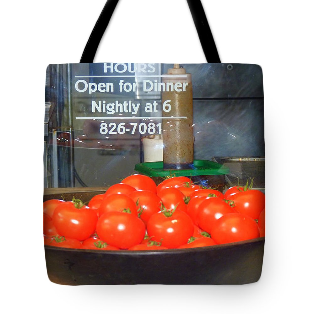 Signs Tote Bag featuring the photograph Red Tomatoes by Kris Hiemstra