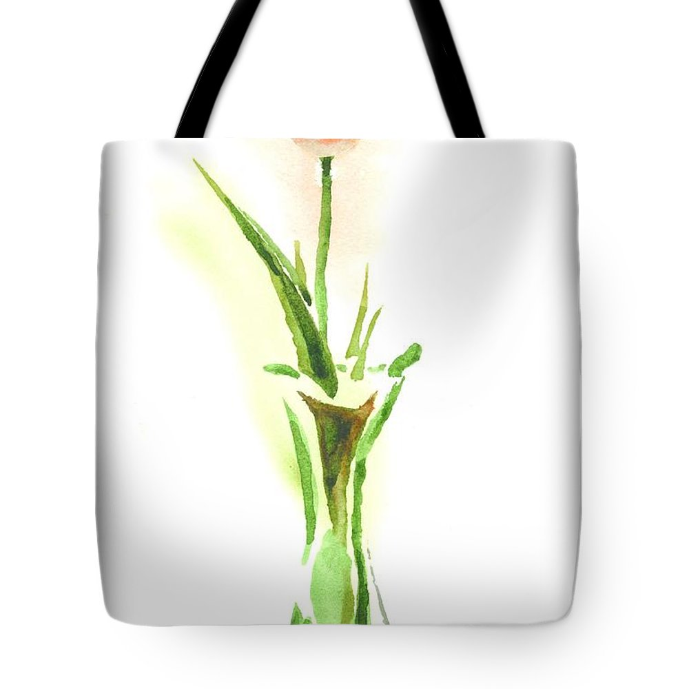 Red Tulip In A Green Vase Tote Bag featuring the painting Red Tulip In A Green Vase by Kip DeVore