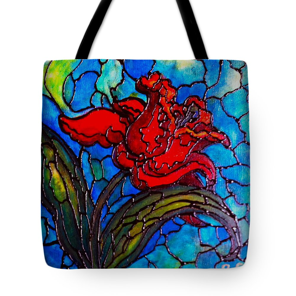 Original Tote Bag featuring the painting Red Tulip by Rae Chichilnitsky
