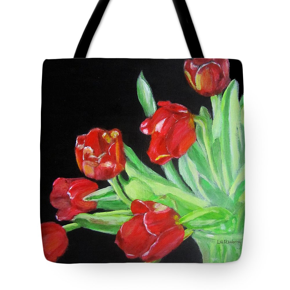 Tulips Tote Bag featuring the painting Red Tulips In Vase by Linda Feinberg