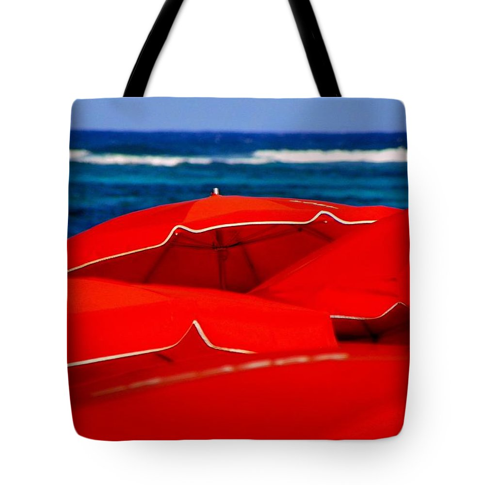 Umbrellas Tote Bag featuring the photograph Red Umbrellas by Karen Wiles
