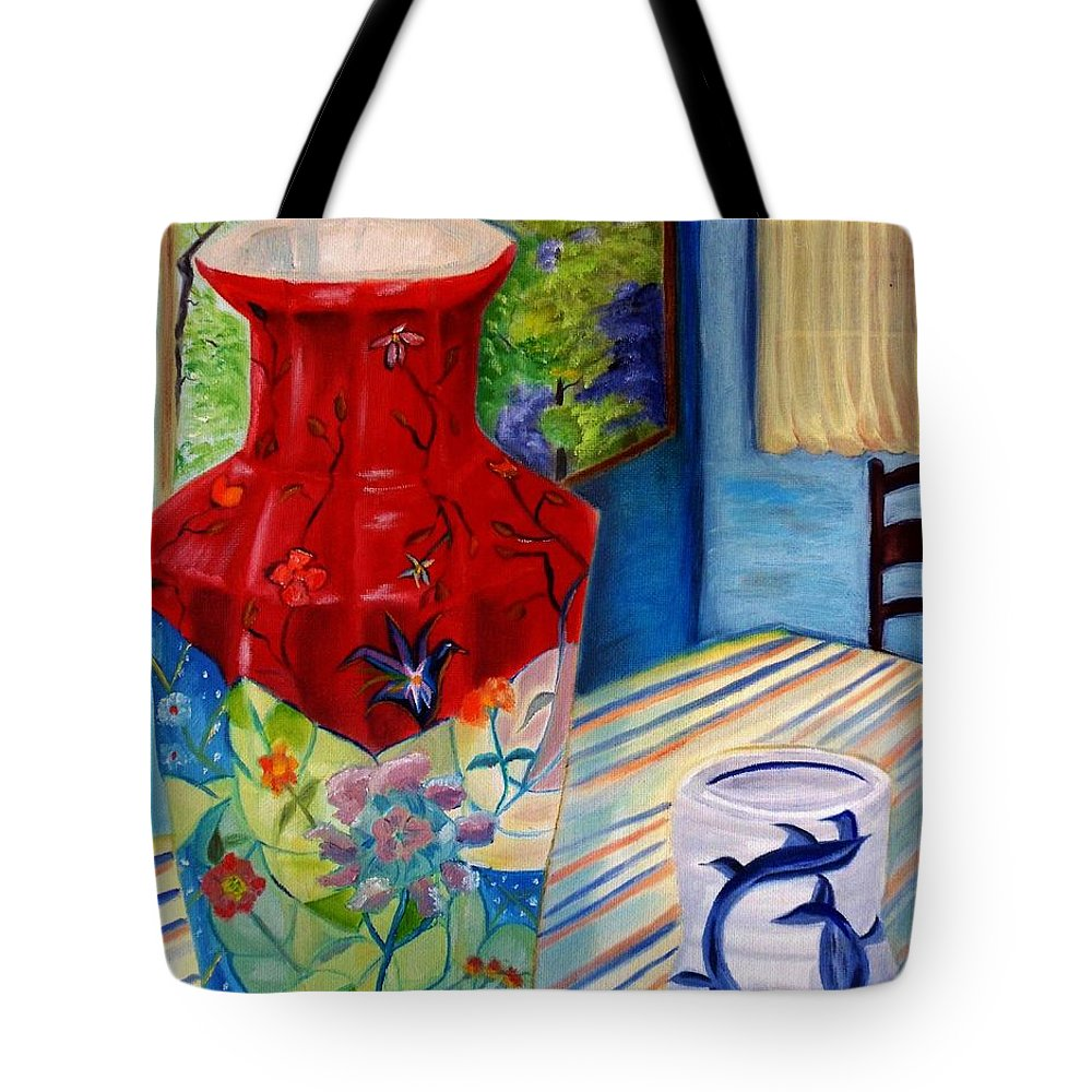 Vase Tote Bag featuring the painting Red Vase And Cup by Nancy Milano