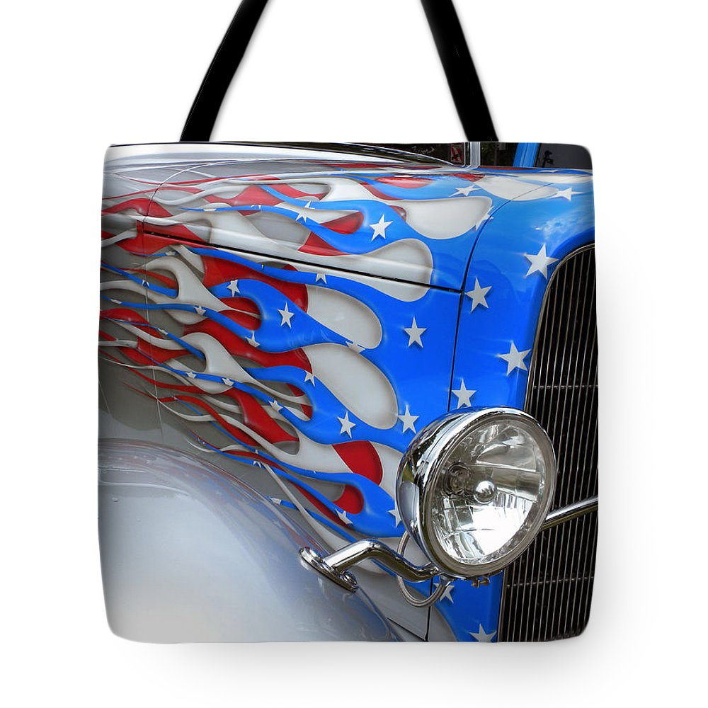 Red White And Blue Auto Sales >> Red White And Blue Flames Tote Bag