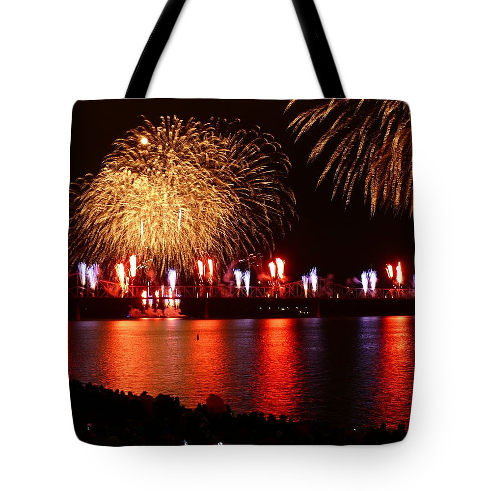 Landscape Tote Bag featuring the photograph Red White Boom by Kevin Jackson