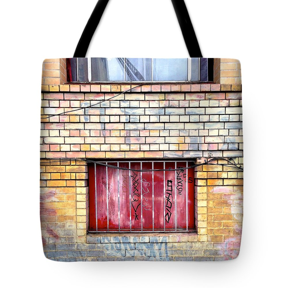 Painted Brick Tote Bag featuring the photograph Red Window by Julie Gebhardt