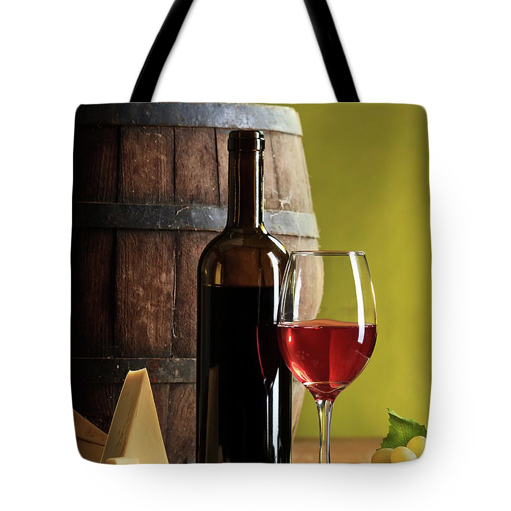 Cheese Tote Bag featuring the photograph Red Wine Composition by Valentinrussanov
