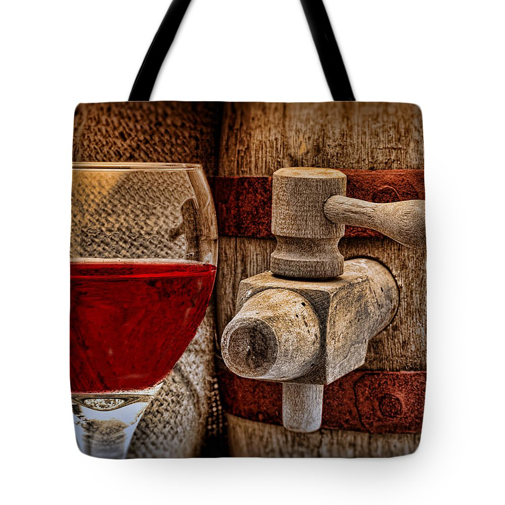 Aged Tote Bag featuring the photograph Red Wine With Tapped Keg by Tom Mc Nemar
