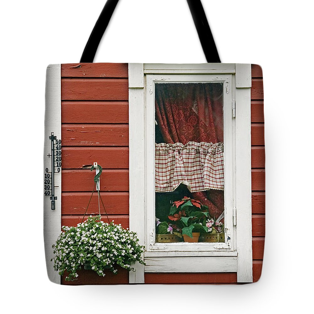 Window Tote Bag featuring the photograph Red Wooden House With Plants In And By by Chris Parker