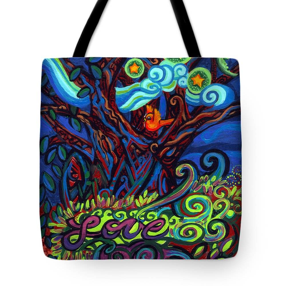 Redbird Tote Bag featuring the painting Redbird Sings Song Of Love by Genevieve Esson