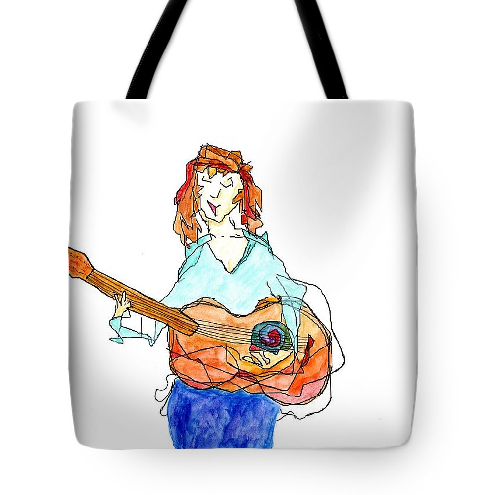 Jim Taylor Tote Bag featuring the painting Redhead Player by Jim Taylor