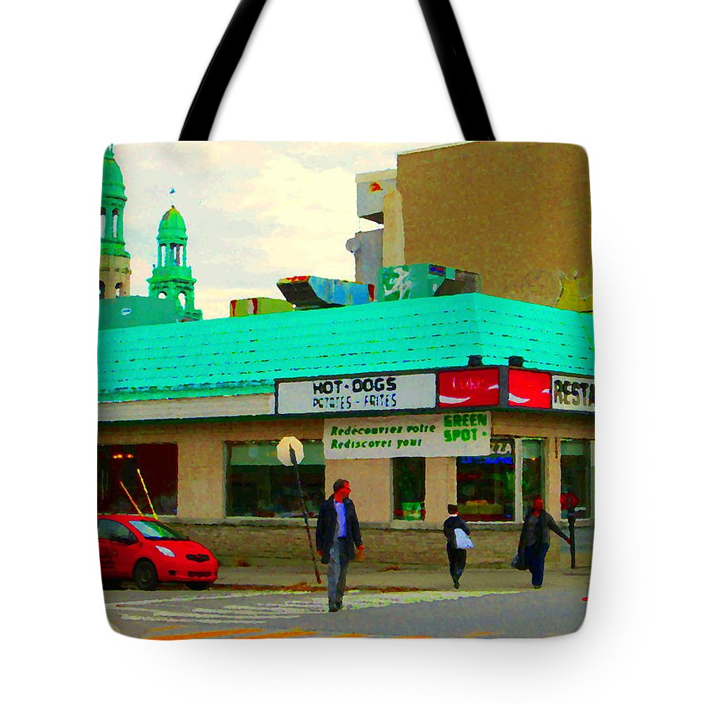 St.henri Tote Bag featuring the painting Rediscover Your Greenspot Notre Dame St Henri Dogs Et Frites Urban Food City Scenes Carole Spandau by Carole Spandau